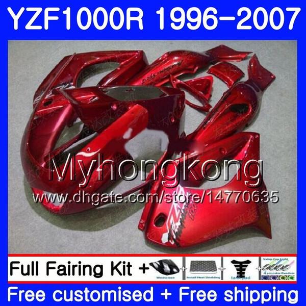 Body ALL Gloss red For YAMAHA YZF1000R Thunderace 02 03 04 05 06 07 238HM.25 YZF 1000R YZF-1000R 2002 2003 2004 2005 2006 2007 Fairing kit