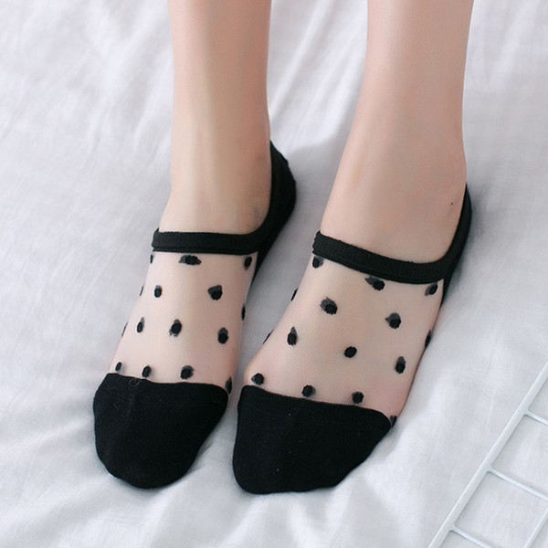Zarif Kadın Çorap Kızlar Bayanlar Katı Nokta Kısa Çorap İlkbahar Yaz Düşük Ayak Bileği Görünmez Giymek