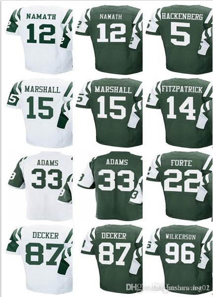 free shipping bc72d 4ba2f 2018 Men'S New York Jets #5 Christian Hackenberg 12 Joe Namath 14 Ryan  Fitzpatrick 15 Brandon Marshall 33 Jamal Adams 87 Eric Decker Jersey From  ...