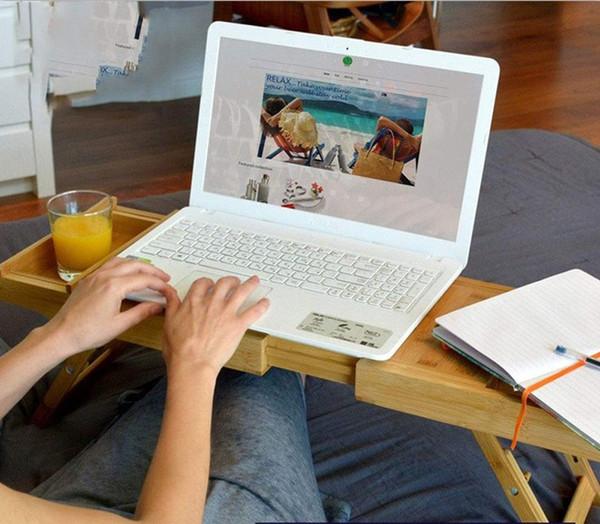 Tavolino Porta Pc Con Ventola Usb E Gambe Allungabili.Acquista Vaschetta Da Bagno In Bambu Vassoio Laptop Scrivania Con