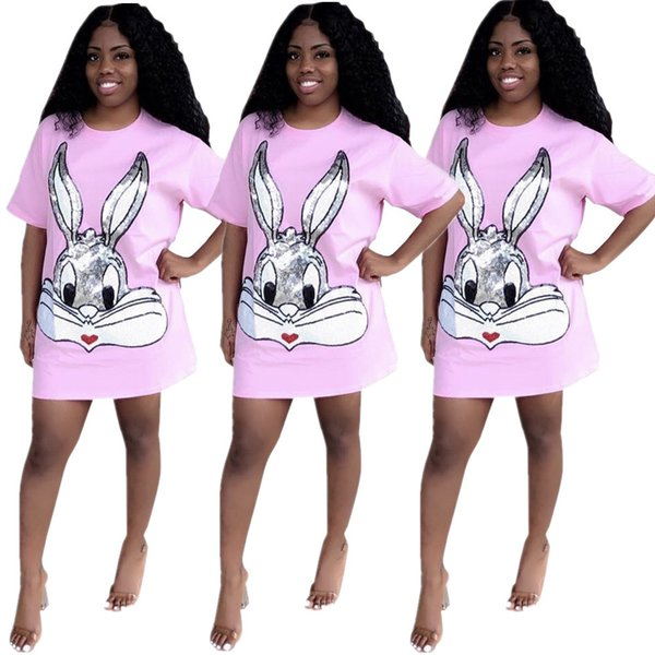 Pink Cotton Sequins Rabbit Pattern Women Dress New Arrivals Summer T Shirt Dress Real Pictures Half Sleeves O Neck Casual Club Dress 2019