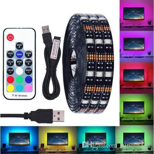 Faixa de LED DC 5V USB 5050 Waterproof LED RGB Luz flexível 50CM 1M 2M 3M 4M 5M adicionar remoto Para TV iluminação de fundo