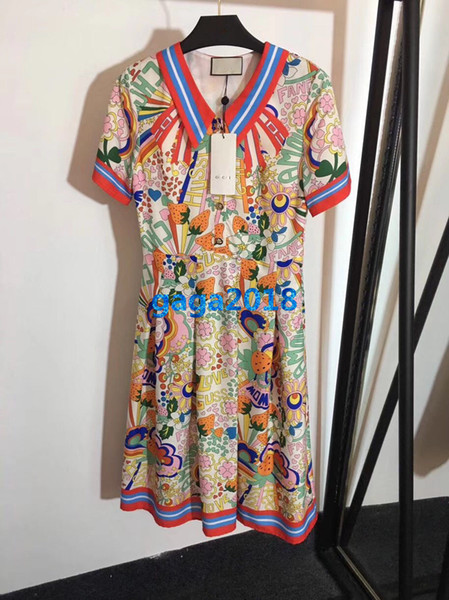 women girls shirt dress strawberry floral letter striped print lapel neck short sleeve a-line pleated skirts high end fashion luxury dresses