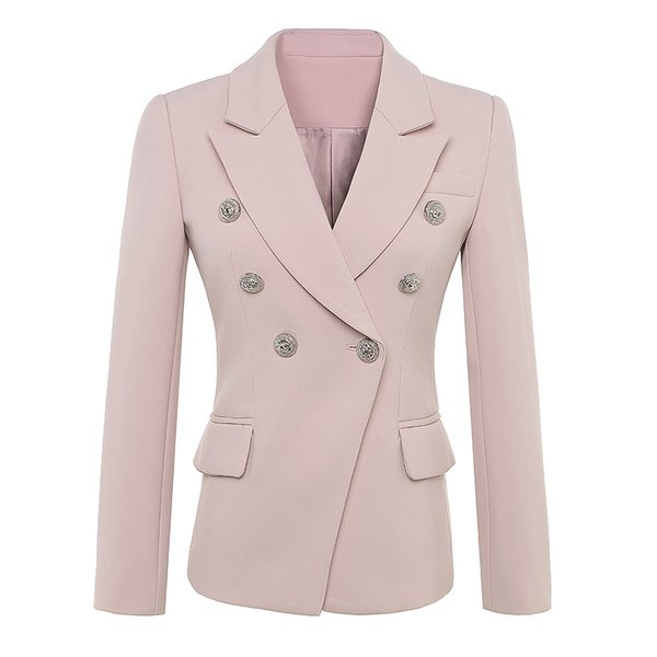 HIGH QUALITY Newest 2019 Baroque Designer Blazer Women's Long Sleeve Double Breasted Metal Lion Buttons Blazer Jacket Outer