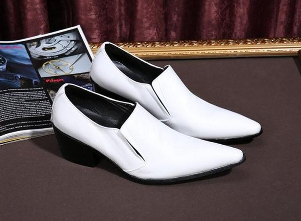 White Leather Luxury Italian Shoes Man High Heels Pointed Toe Dress Wedding Shoes Loafers Dress Wedding Shoes Loafers