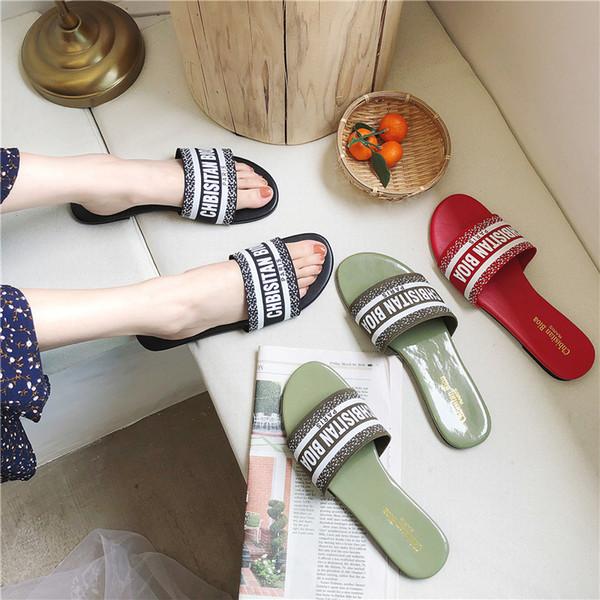 2019 zapatos planos mujer mujer clásico cómodo exterior zapatillas pantoufle femme carta punta abierta diapositivas zapatillas mujer