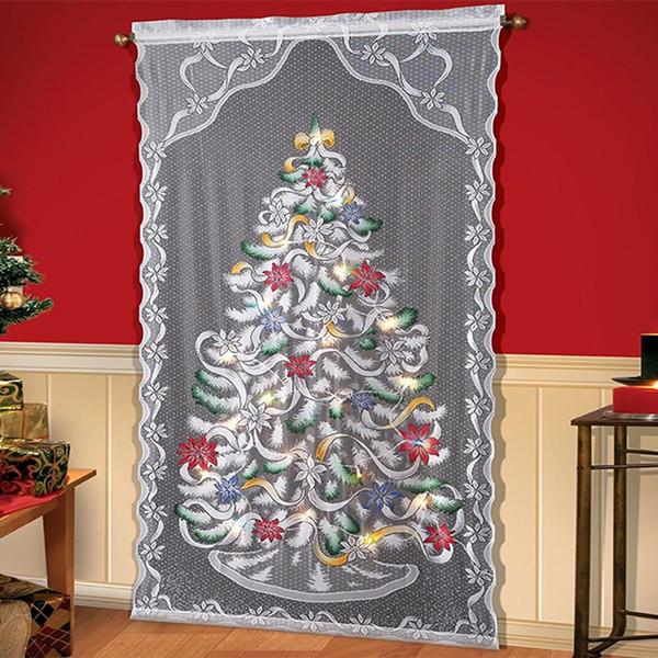 LED-Licht-Weihnachtsbaum-Muster-Spitze-Vorhang Halbschattierung Fenster drapieren Weihnachten Home Decoration