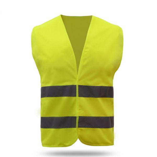 Gilet di sicurezza riflettente Colore neon brillante con strisce riflettenti da 2 pollici Cerniera arancione con cerniera frontale CB037