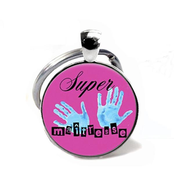 Hostess charm Keyring Sweet Cartoon Pattern Handmade Jewelry Glass Bulge Pendant Car Keychain Teacher's Day Gifts
