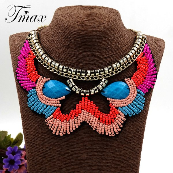 Blue Rhinestone Beads Retro Ethnic Beaded Exaggerated Character Necklace with Bohemia Water Drops Multi Layer Bead Necklace