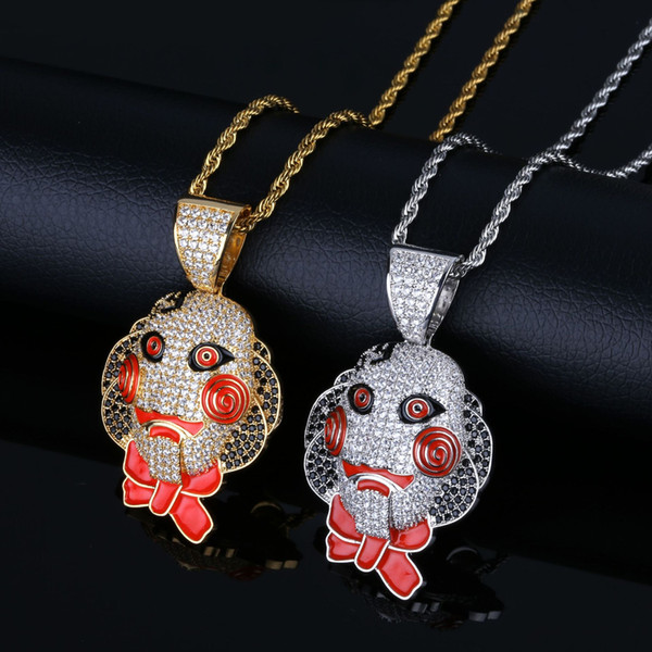 European and American movies SAW Mask pendant necklace Zircon Hip-hop Necklace