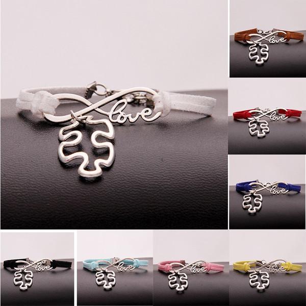 New Autism Awareness Puzzle Piece Charm Bracelets infinity Love Wish velvet Rope Wrap Bangle For women Men Fashion Friendship Jewelry