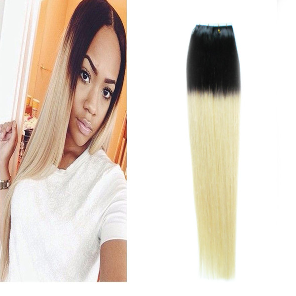 Black Blonde Ombre Brazilian Hair straight PU Tape In Human Hair Extensions Hablonde Double Sides Adhesive Cheap Skin Weft Hair