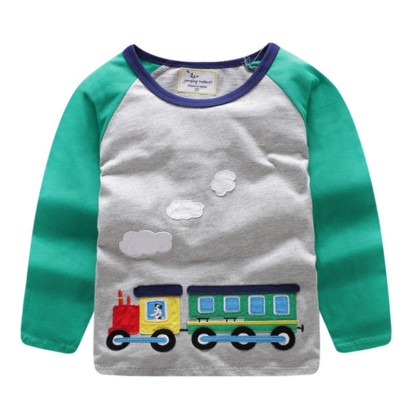 Jumping meters Brand 2018 Long Sleeve Autumn Spring T shirt For baby kids Boys girls Cartoon Embroidery Train Tshirt