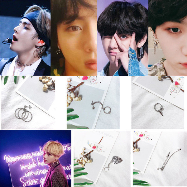 KPOP BTS Bangtan Boys Album V DNA Ohrstecker Korean Modeschmuck Zubehör Für Herren und Frauen Ohrring