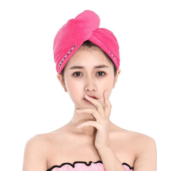 Tapas de ducha para el cabello mágico de secado rápido 6 colores de toalla de microfibra secado turbante abrigo sombrero Spa gorras de baño Suministros de baño 50 piezas DHL