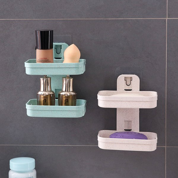 Soap Dishes Box Wall Shower Soap Tray Holder for Bathroom Double layer Storage Basket Soap rack Shelf Kitchen Tools