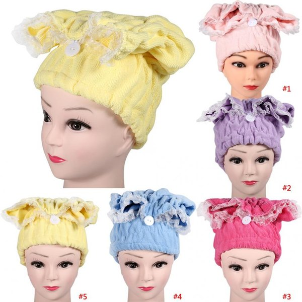 Super Absorbent Microfiber Hair Drying Towel Quickly Dry Turban Bathroom Hair Wrap Hat Towels Quick-dry Head Wrap Bathing Tools