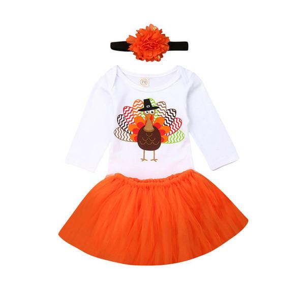 Thanksgiving Baby girls outfits infant Turkey romper+Tutu Mesh lace skirts with headbands 3pcs/set Designer Boutique kids Clothing SetsC1311