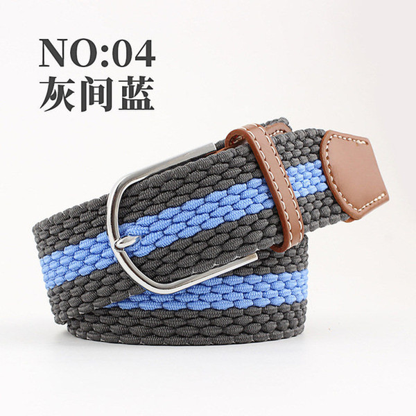 15color Casual Stripe stretch woven belt Womens unisex Canvas elastic belts