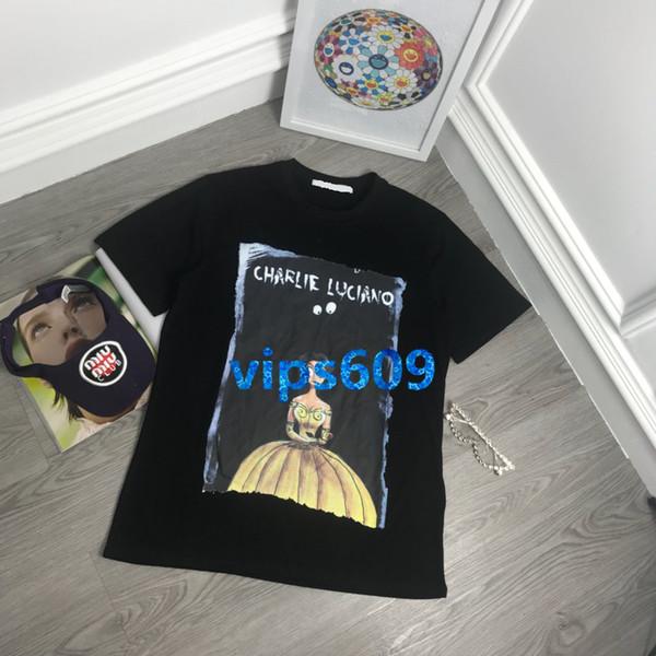 T-shirt da donna di fascia alta, maglietta felpata, personaggio anime con stampa del modello girocollo, manica corta, manica corta, top nero bianco