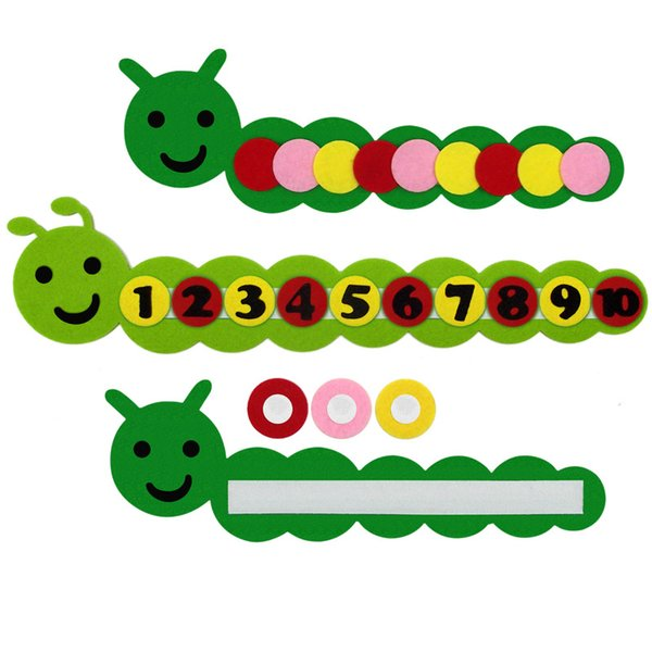 Diy Math Cognitive Prop Colori Apprendimento Toy Caterpillar Giocattoli a forma di tessuto non tessuto Bambino Baby Boy Girl Pratico 4lf D1