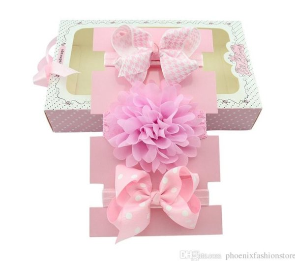 Baby Girls Elastic Hair Accessories DIY Headband Ribbon Bow Lace Flower Hairband With Gift Box For Kids Show Present A148