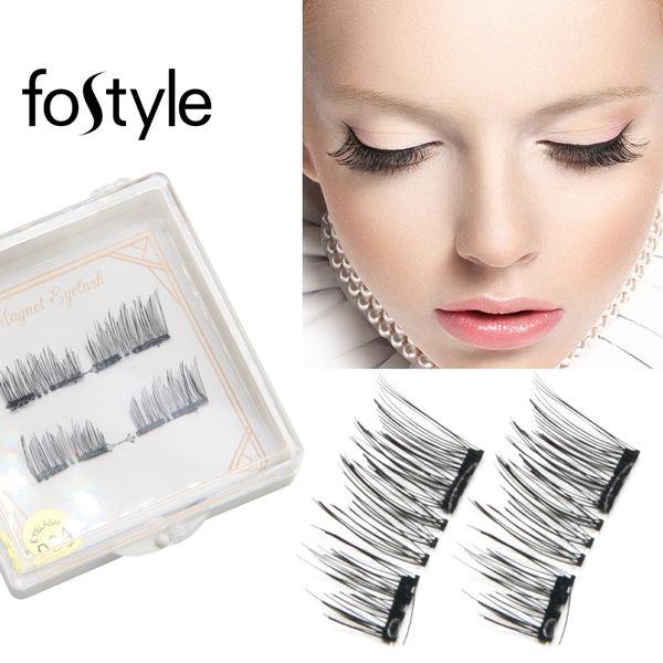 4pcs False Eyelashes Faux Mink Lashes Magnetic Eyelashes Natural Magnetic Lashes Mink Fake Eye Extension Supplies Makeup