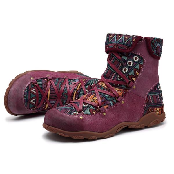 Böhmische Frauen-flache Ferse Rundkopf Stiefel Retro Freizeit-Stickerei-Stitching Ankle Boots bequem Lace-Up flache Schuhe Frau