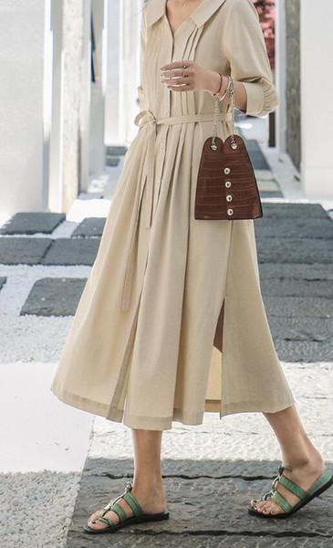 Fransız retro etek diz üzerinde uzun etek bir peri elbise 2019 yeni yaz bel zayıflama gömlek etek 8828