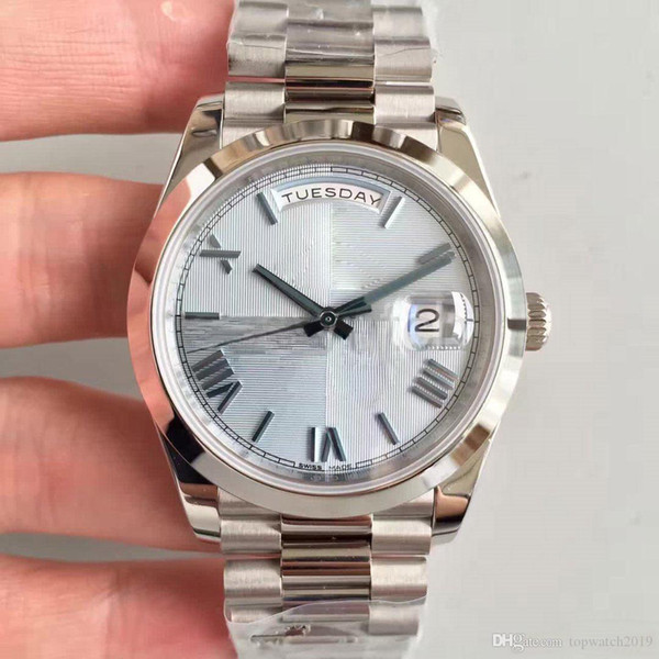 Armbanduhr Mechanisch 40MM gestreiftes Zifferblatt Römisch Digital DATE-228206 Serie Automatikwerk Saphirglas Präsident Armband