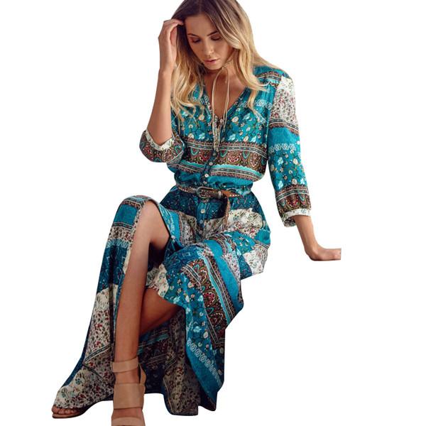 S-5xl Tallas grandes Mujer Vestidos Maxi Largos Bohemia Con Cuello En V Estampado Floral Étnico Primavera Verano Playa Mujer Estilo Elegante Vestido SH190709