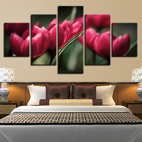 Canvas HD Printed Pictures Wall Art Posters 5 Pieces Red Tulips Beautiful Leaves Love Flower Painting Modular Home Decoration Framed