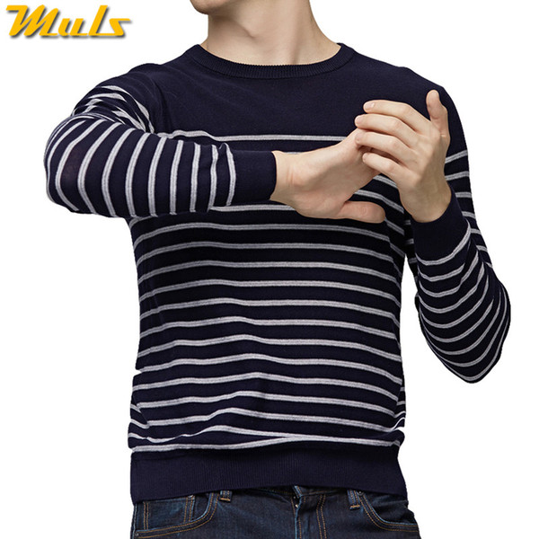MuLS 2019 Spring Sweater Men Pullover Striped Sweater Knit Jumpers Autumn Male Cotton knitwear Youth Blue Black Grey Size M-3XL