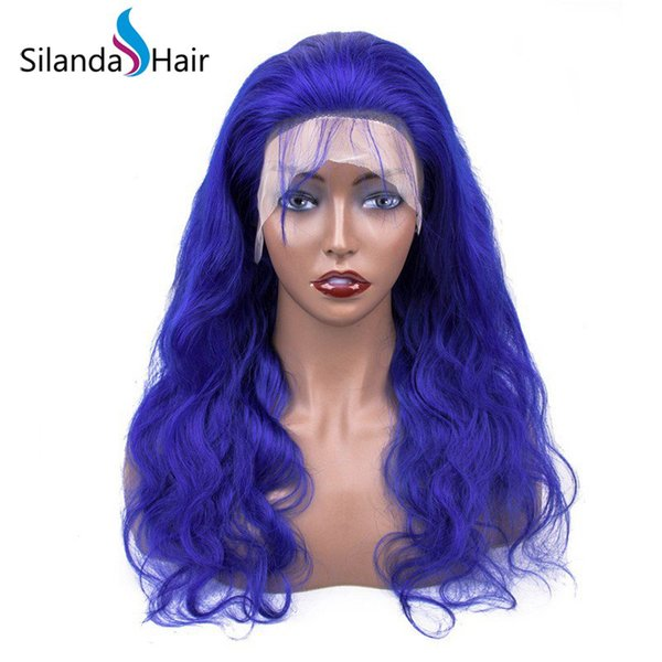 Silanda Hair High Quality Big Discount Blue Body Wave Brazilian Remy Human Hair Lace Front Full Lace Wigs Free Shipping