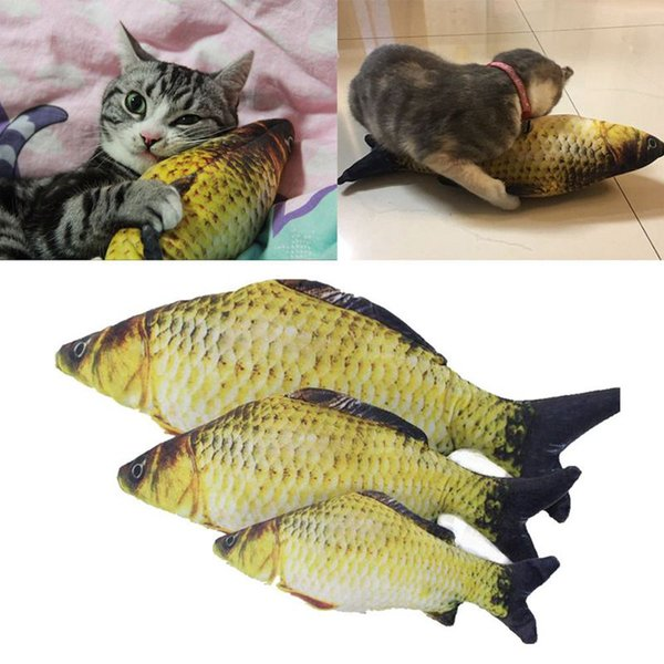 pet cat toys cute fish shape chewing toy simulation stuffed fish with catnip pet interactive toy for cats kitten 40cm