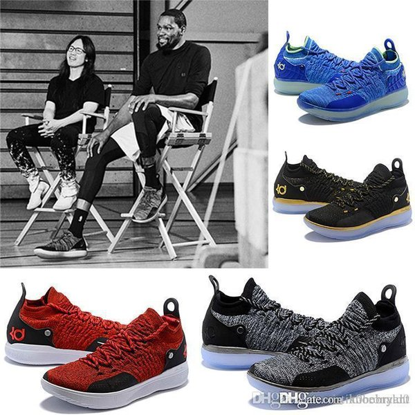 2019 Yeni Varış KD XI 11 EP Oreo Buz Mavisi Spor Rahat Ayakkabılar için En kaliteli Erkek Kevin Durant 11 s Eğitmenler Tasarımcı Sneakers ABD 40-46.
