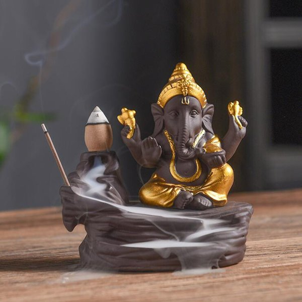 Elephant God Ganesha Ceramic Waterfall Backflow Incense Burners India Censer Holder Gifts Meditation Ornaments Home Office Decor Crafts