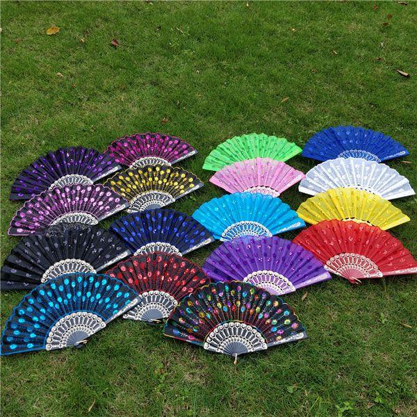 Brand New Sequins Dancing Fan Creative Design Peacock Folding Hand Fans Mujeres Etapa Rendimiento Prop 10 colores