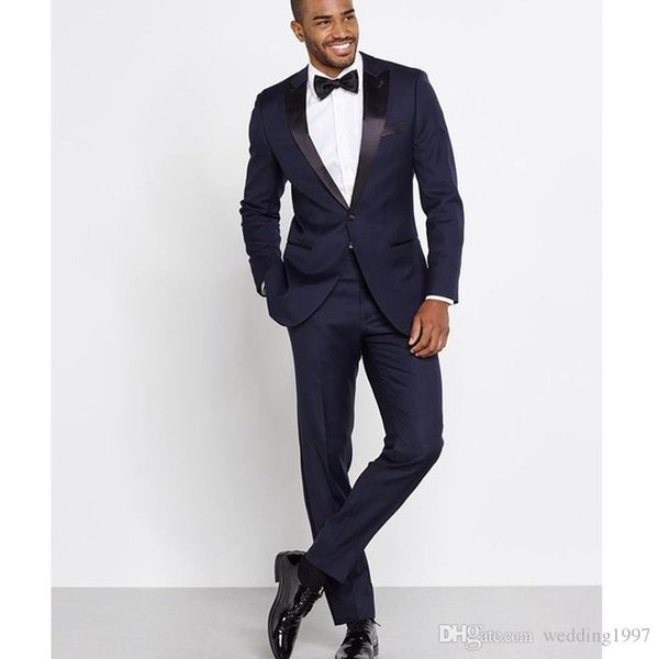 Navy Blue Wedding Groom Tuxedos Peaked Lapel One Button Skinny Style Men Suits Two Piece Groomsmen Suit (Jacket + Pants)