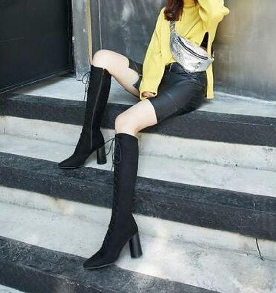 New Arrival Hot Sale Specials Super Fashion Influx Martin Plus Velvet Cotton Black Lace Up Female Stretch Warm Heels Boots EU34-48