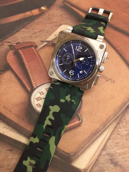 blue dial 46mm outdoor bellross instrument heritage mens watches quartz chronograph watch camouflage green rubber strap wristwatches, Slivery;brown