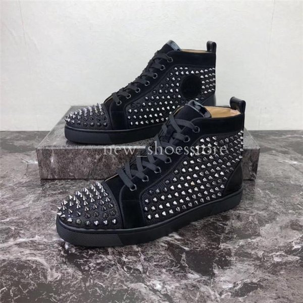 Men Women Casual Shoes Luxury Designer Red Bottom Studded Spikes Fashion Insider Sneakers Black Red White Leather High Boots x6