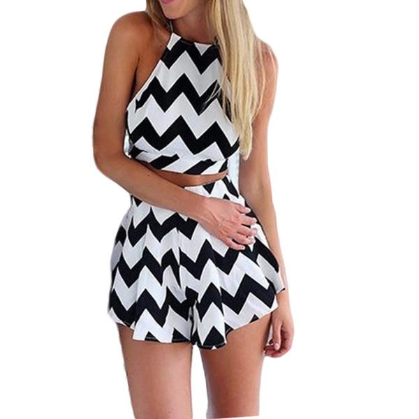 Hot sale European style women jumpsuit large size 5XL 2019 fashion print striped halter sexy thin chiffon playsuits 123