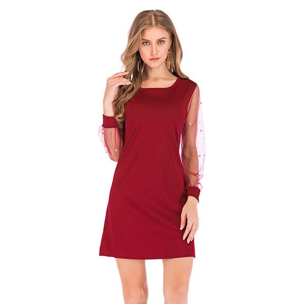 Women Autumn Long Sleeve Female Dress Tunic O Neck A Line Elegant Party Dresses Black/red Dress Pearls Beading Sheer Mesh