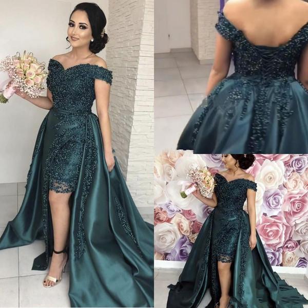 2019 robes de bal vert-foncé sexy sirène hors épaule dentelle appliques perlées overskirts haut bas dos africain robes de soirée formelles