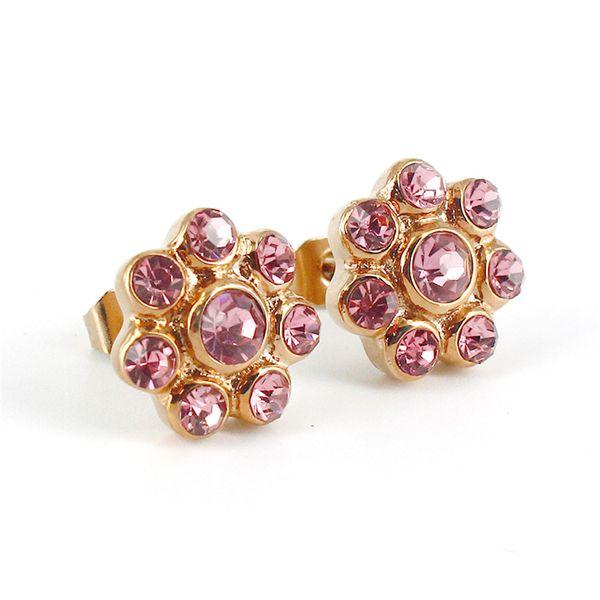 Shining Crystal Flower Charm Stud Earring 316L Stainless Steel 18K Gold Plateding Earrings Jewelry for Women VICHOK