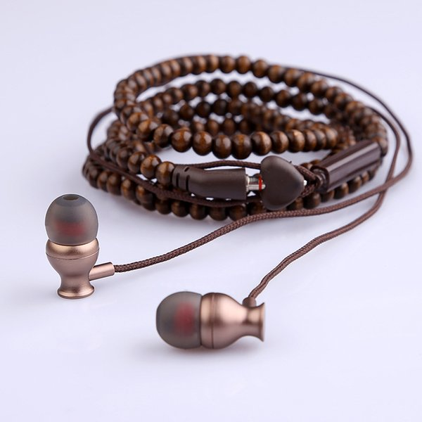 Wooden Bead Necklace Earphone with Microphone Retro in-ear Earphones Universal Headphone for Android iPhone Samsung Phone with Leather Case