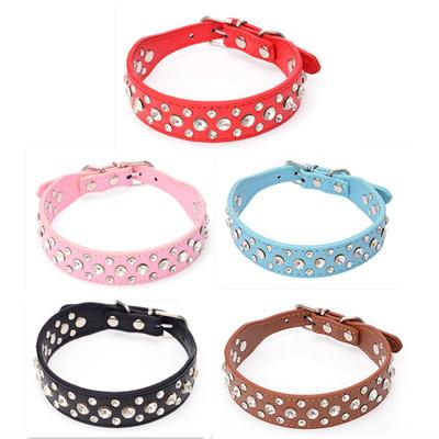 Dog Collar Leather Large Dog Collars Sparkly Crystal Diamonds Studded Pet Collar for Medium Large Dogs Red Pink Black