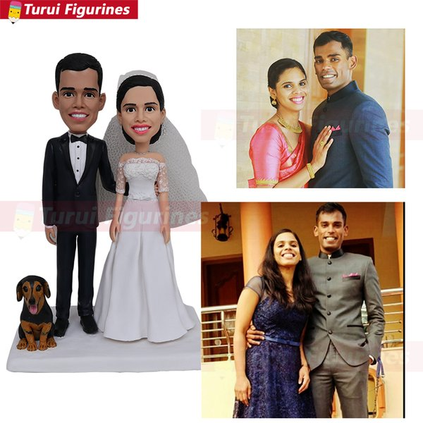 Topper do bolo de casamento com cão estatueta fazer um costume bobblehead china artista mini me estátua do cão personalizado bobble head figurines doll